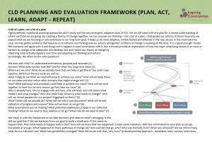CLD Planning and Evaluation Framework Inspiring Communities